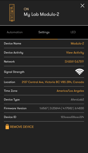 Device Settings